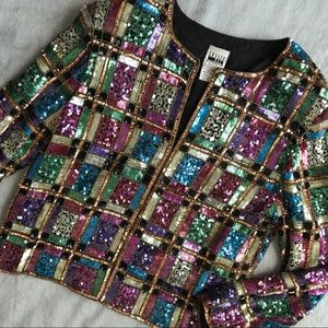 VTG 90s Sequin Blazer Jacket Funky Colorblock